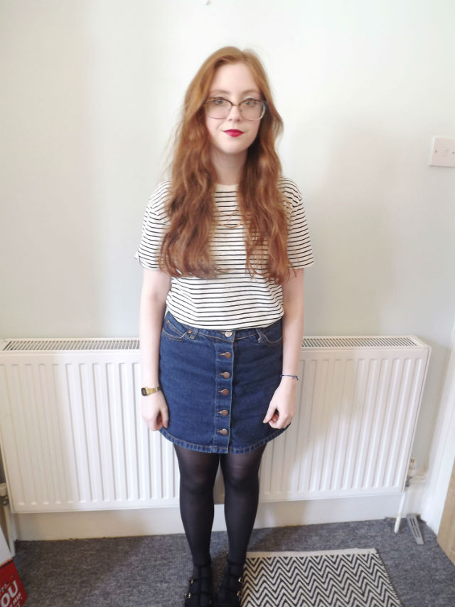 primark, denim, button up skirt, striped tee