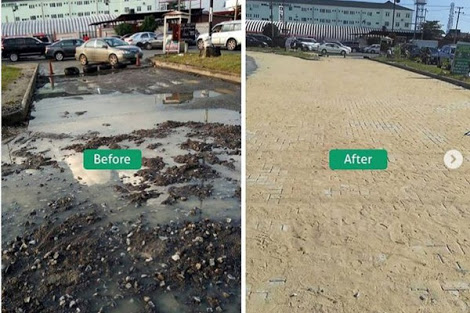 See Dilapidated Road In Lekki, Lagos Rehabilitated By Billionaire Otedola's Firm
