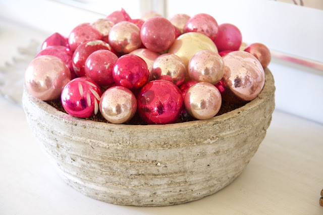 Valentine Vessel; concrete bowl with antique pink ornaments; Nora's Nest