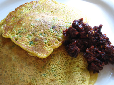 Chickpea Flour Pancakes (Pudla) with Crushed Peas, Ginger, Chilies and Cilantro
