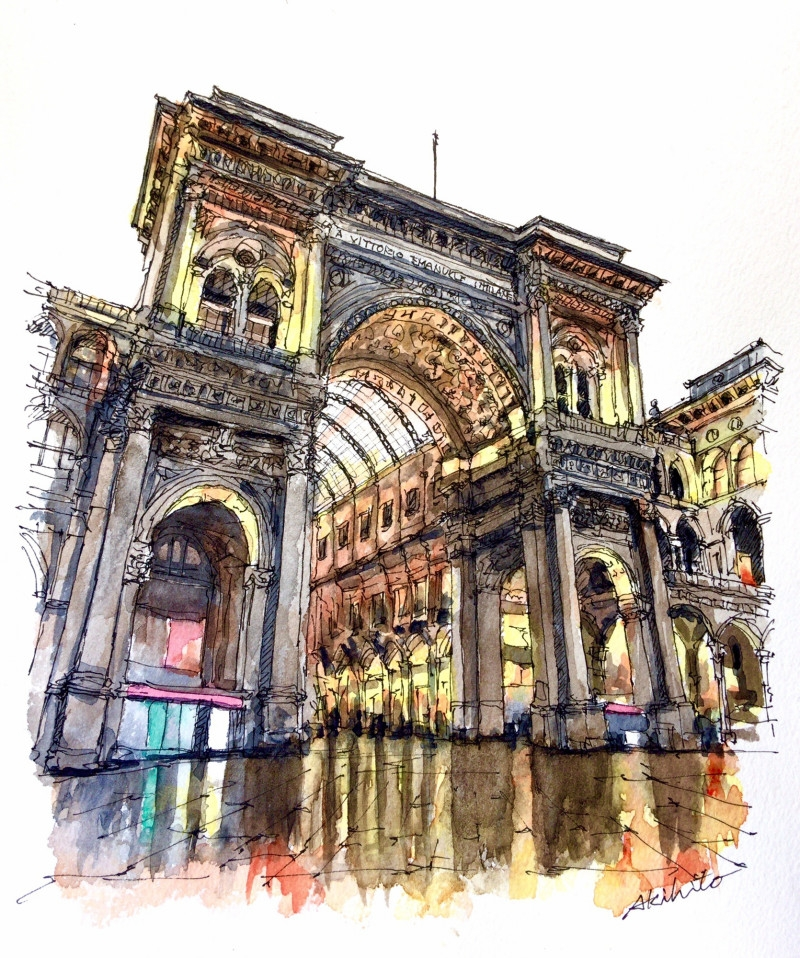 01-Milan-Italy-Akihito-Horigome-Travelling-Drawing-and-Painting-www-designstack-co