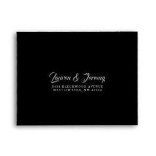 Black Matching Elegant Halloween Wedding RSVP RETURN Envelope