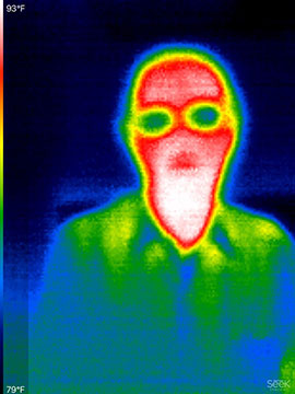 Resident Astronomer George in IR using new Seek Thermal camera (Source: Palmia Observatory)