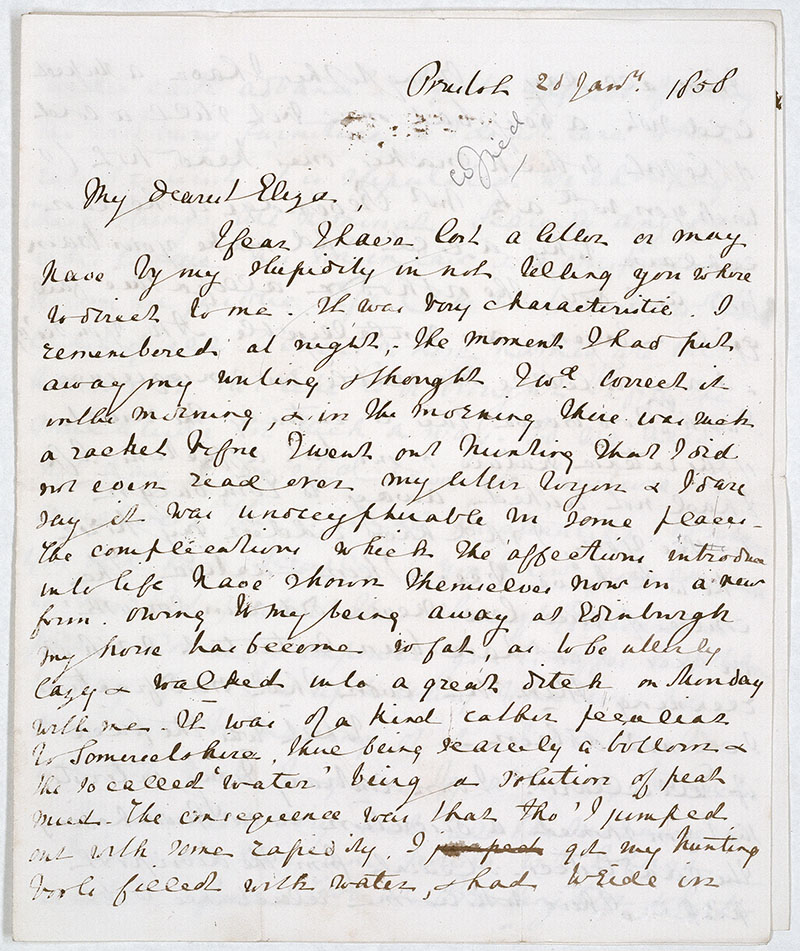 This letter (ref U DX/1 23/1) has Walter teasing Eliza for causing him ...