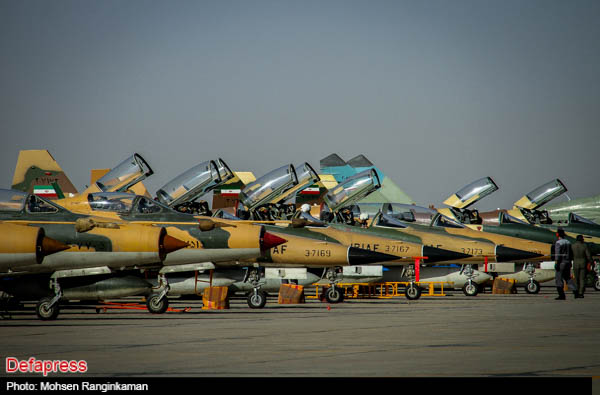 Lineup Of IRIAF Chengdu F 7 Type Airguard Fighters And Northrop 5 Tiger II Fighter Bombers