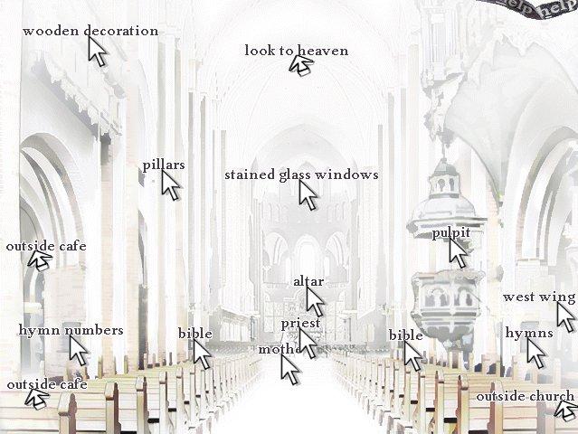 En una iglesia están marcadas todas las zonas con las que se puede interactuar.