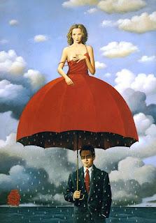 Άντρας κρατάει ομπρέλα που στην κορυφή της εξέχει μία γυναίκα από τον κορμό της και επάνω. Κάτω από την ομπρέλα βρέχει. Ο ουρανός είναι συννεφιασμένος. Στο βάθος πλέει καράβι με πανιά που έχουν το σχήμα τριαντάφυλλου. Σουρεαλιστική τέχνη. Έργο του Ραφάλ Ολμπίνσκι.