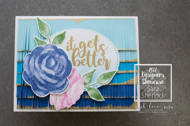 "Fun Stampers Journey Designer's Showcase Bloom This Way Launch Party | Ombre Fringe meet Pretty Florals in this beautiful handmade card created with the BRAND NEW stamp sets ""Good Stuff"" and ""Printed Rose"" 