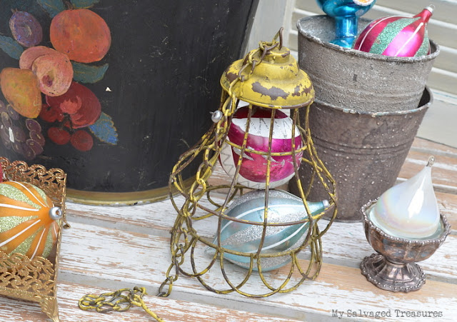 hand painted bucket vintage ornaments chippy light fixture