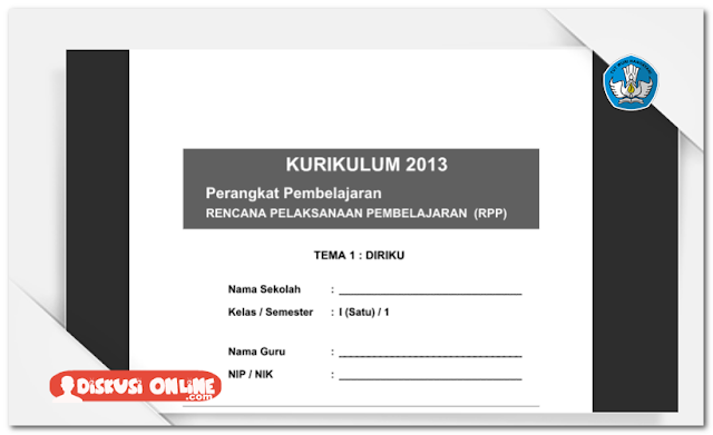 RPP SD Kurikulum 2013 SD/MI Kelas 1 Lengkap