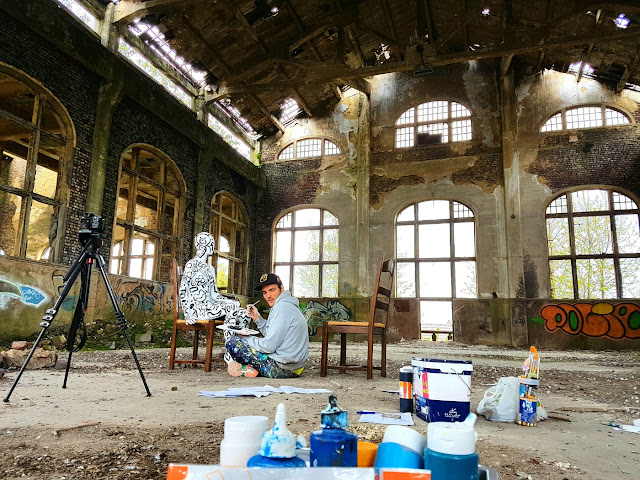 Quand T'es Loin - Clip de Musique - Chanson de Ben Heine Music - BenHeineMusic - Backstage Making of Photos - Flesh and Acrylic - Abstract Body Painting - Ben Heine Art - 2017 - Charbonnage N10 du Gouffre