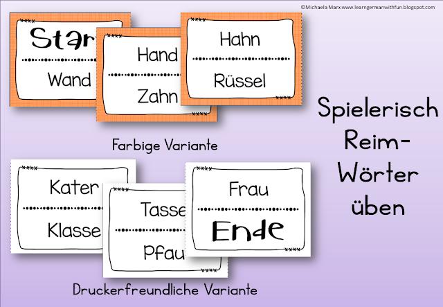 Spielerisch Reimwörter üben mit diesem tollen Lesespiel. Toll für die Grundschule, Legasthenietraining und DaF