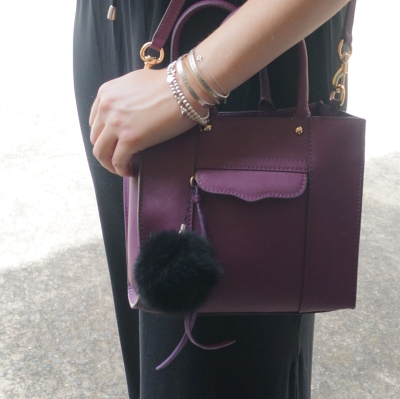 Rebecca Minkoff mini MAB tote in plum faux fur bag charm pompom | AwayFromTheBlue