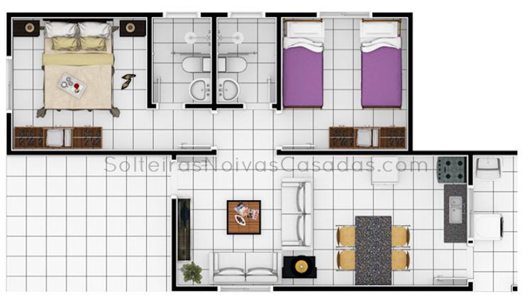 Plantas de Casa com 2 quartos