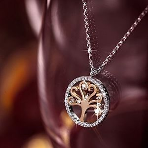 "Pauline & Morgen ""Tree of Life"" Rose/White Gold Plated Crystal Women Necklace £17.99"