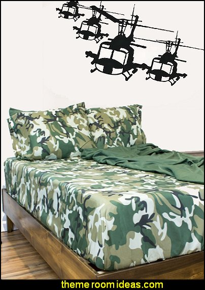 camo bedding Helicopter Fleet wall decals military theme bedrooms