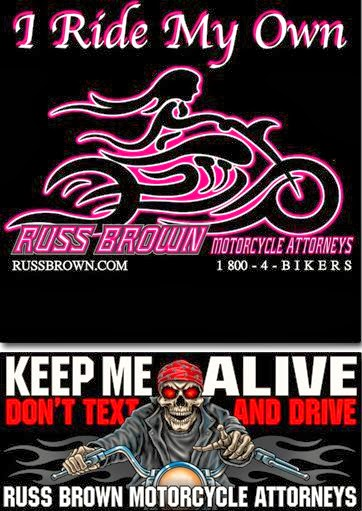 Get a free sticker for motorcycle riders from russ brown motorcycle attorney click the link below to go to their website once on their webpage scroll down