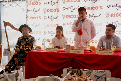 Rico Dionson talks to the press during the launch of Rico's Lechon Axis