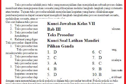 Soal Hots Teks Prosedur Bahasa Indonesia Kelas 7 Tahun 2018/2019 Beserta Kunci Jawaban