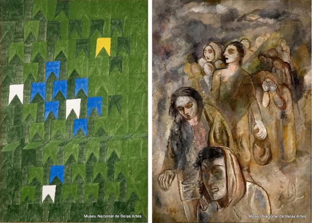 """""""Bandeirinhas"""", de Volpi (1969), e """"Êxodo"""", de Lasar Segall (1949)"""
