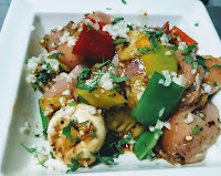 Cubes of bell peppers onions chicken pieces chopped Garlic parsley for chicken Hawaiian kebabs kabobs recipe