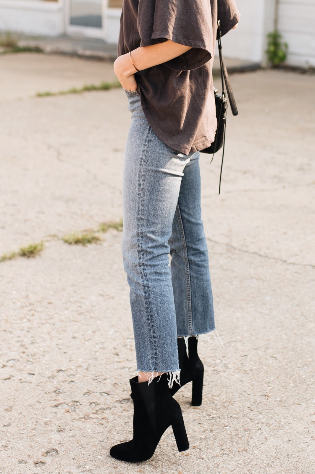 cropped mom jeans with ankle boots