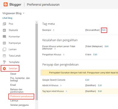 Cara Memasang Meta Deskripsi di Blog