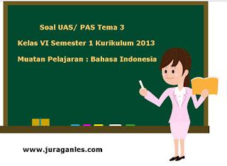 Contoh Soal UAS/ PAS K13 Kelas 6 Semester 1 Tema 3 Bahasa Indonesia
