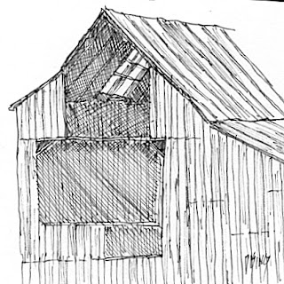 art pen sketch barn wood ink dilapidated