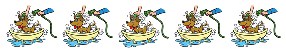 cartoon dog in a bathtub separator