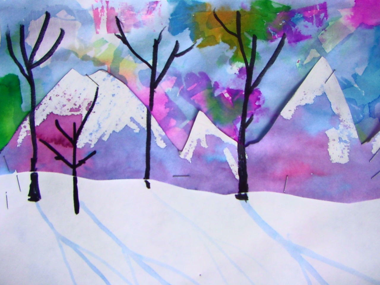 Primary Art Fifth Grade Snowy Mountains