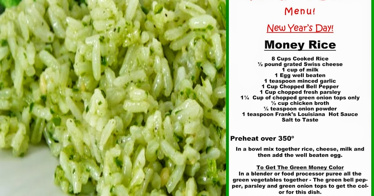 Jajackson Money Rice For Your New Years Day The Good Luck Menu