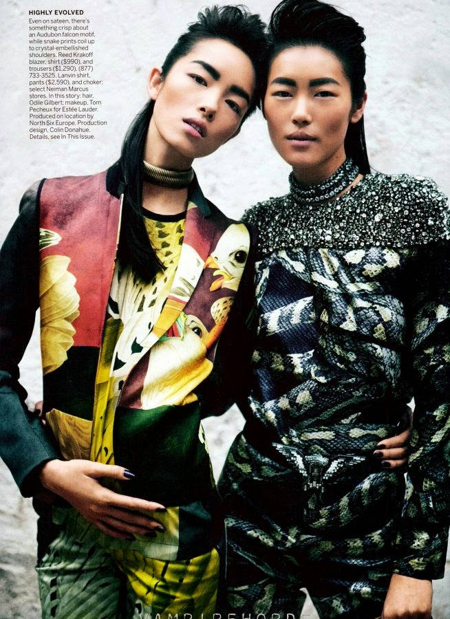 Liu Wen and Fei Fei Sun by Peter Lindbergh for Vogue US (March 2012) | Ses Rêveries