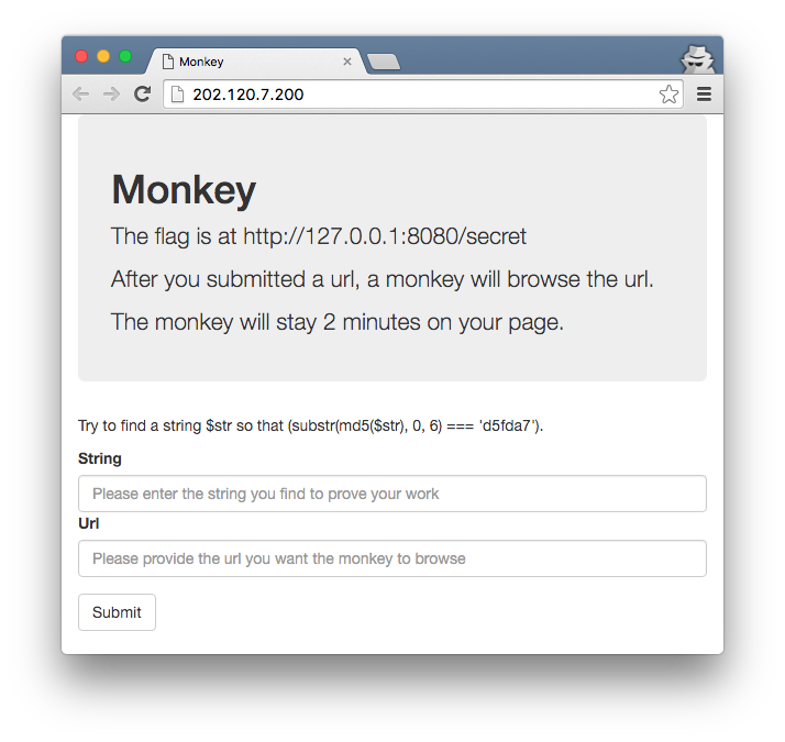 w00tsec: 0CTF 2016 Write Up: Monkey (Web 4)