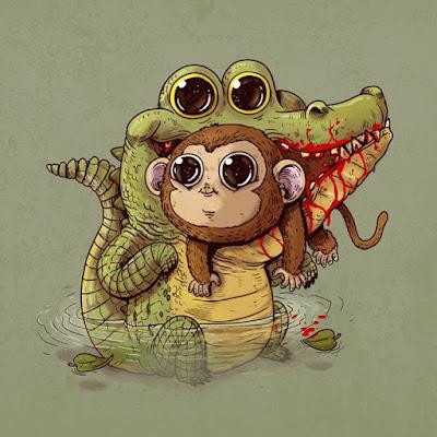 Caricatura de Cocodrilo con un pequeño mono entre los dientes.