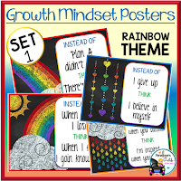 Growth Mindset Posters Rainbow Set 1
