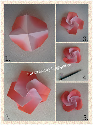 step by step in making valentine's origami flowers with one paper only