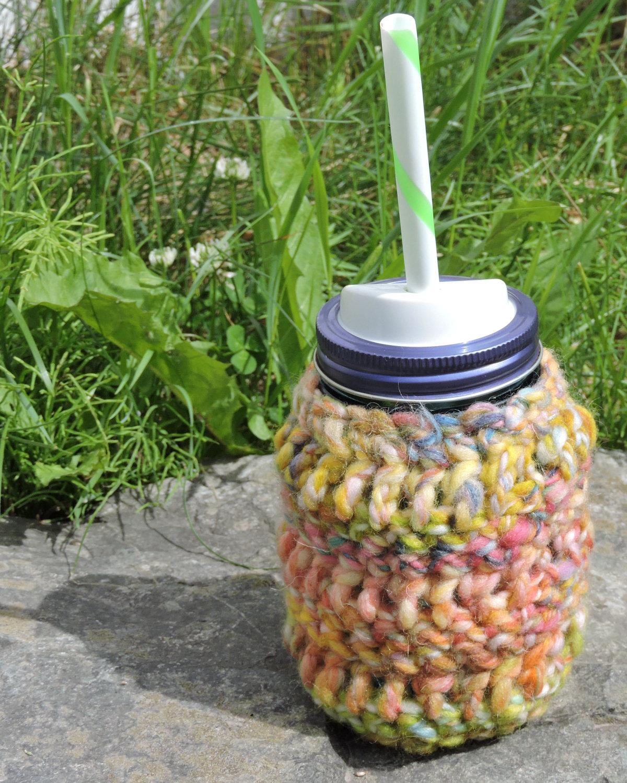 Dont Eat The Paste Bulky Handspun Crochet Jar Cozy Fits Pint