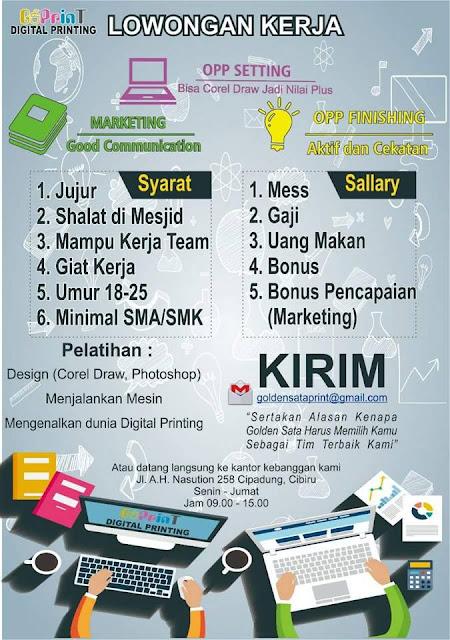 Lowonga Kerja Perusahaan Digital Printing di Bandung