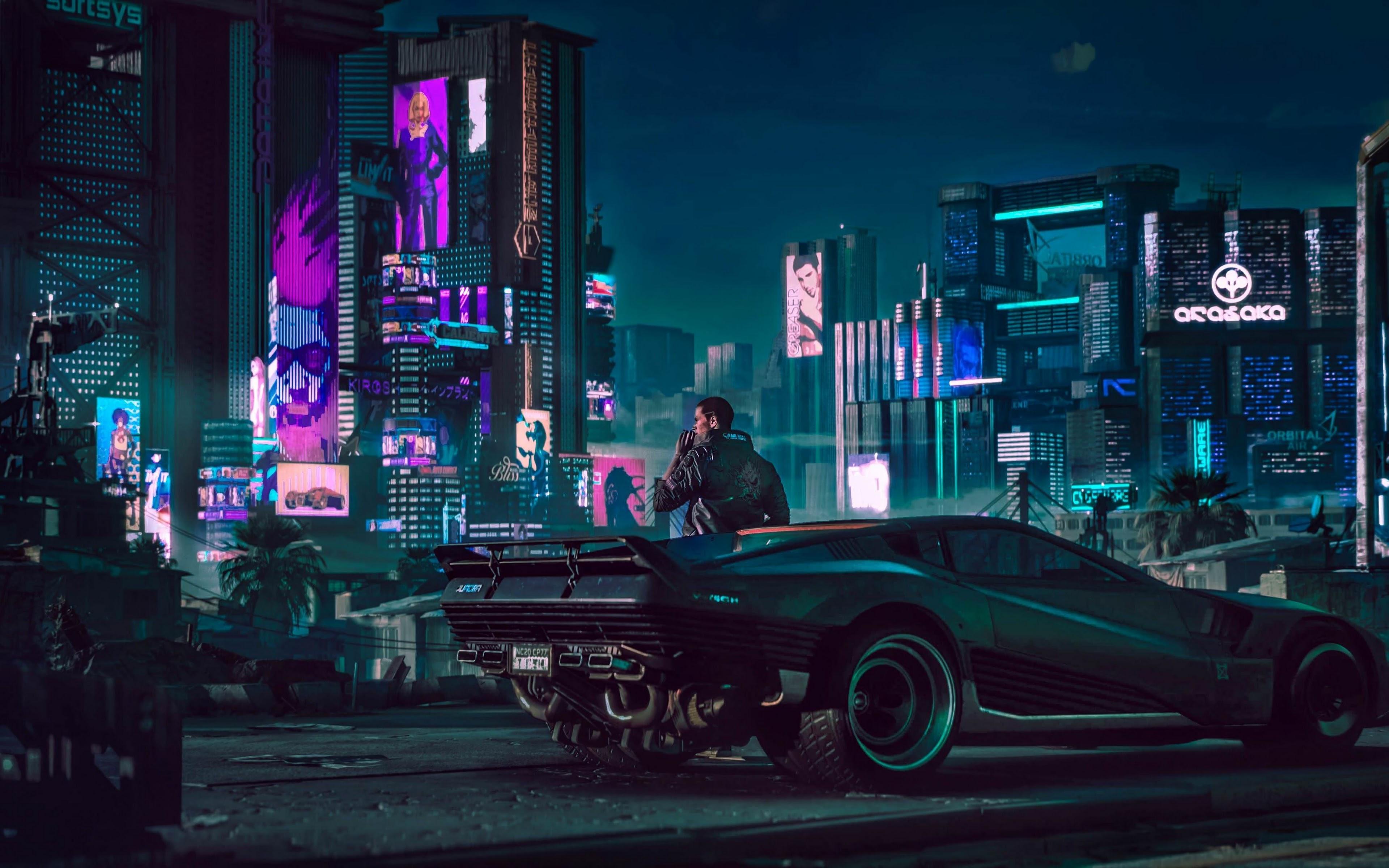 Cyberpunk 2077 City Night V Car 4k Wallpaper 64