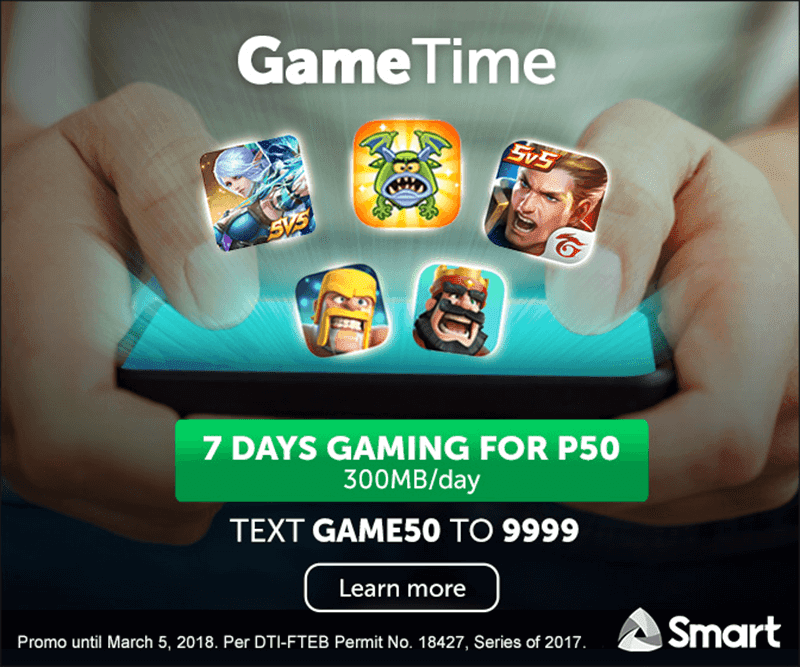 Smart has a Secret Game Time promo, PHP 50 for 7 days of mobile gaming!