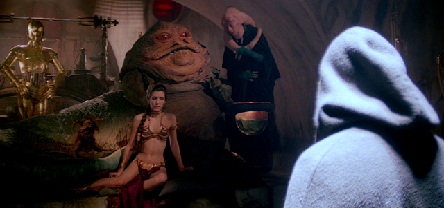 C-3PO, Leia, Jabba the Hutt, Bib Fortuna and Luke Skywalker