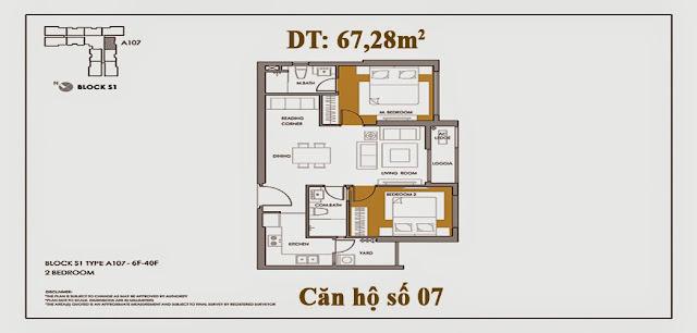 Báo giá căn hộ A107 tòa S1, Chung cư Seasons Avenue - CT9 Mỗ Lao