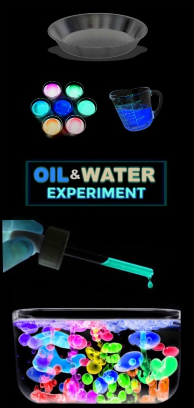 FUN SCIENCE FOR KIDS: Glow-in-the-Dark oil & water experiment #glowinthedarkactivities #scienceexperimentskids #scienceforkids #glowinthedarkexperiments #oilandwaterexperiment #activitiesforkids