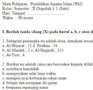 Soal-Ulangan-Ujian-Pendidikan-Agama-Islam-kelas-10-SMA-Semester-1-UAS-PAI-kelas-10-SMA