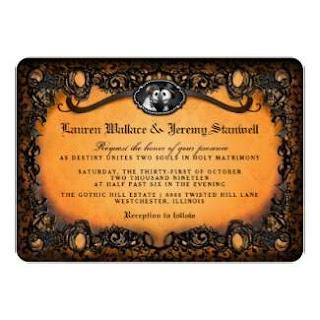 Orange & Black Gothic Skeletons Halloween Wedding RECEPTION Invitation
