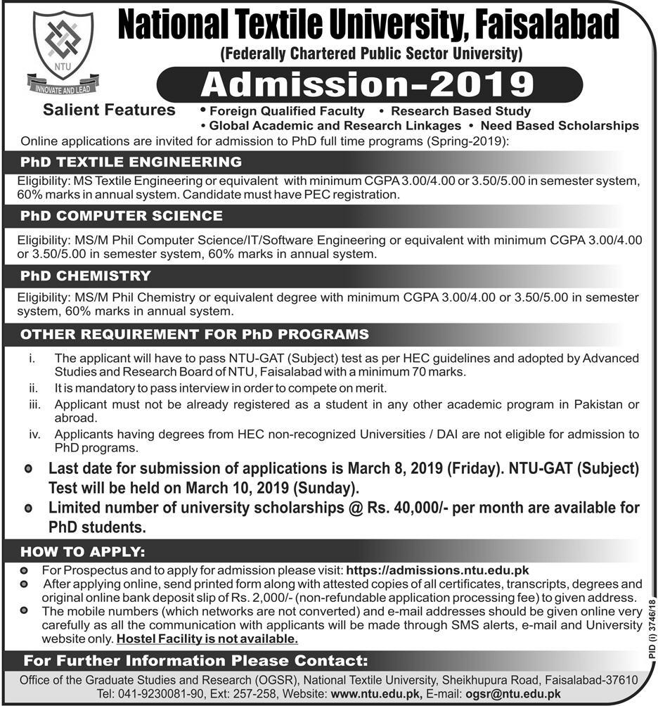 Admissions Open For Spring 2019 At NTU Faisalabad Campus