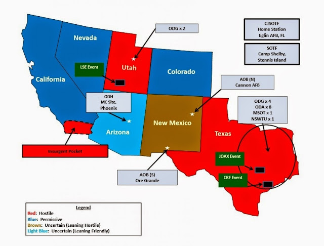 Jade Helm 15 declares Texas, Utah and Southern California hostile territory.
