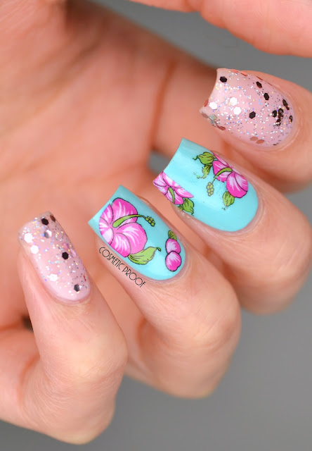 Glitter and Flower Nail Art CND Creative Play