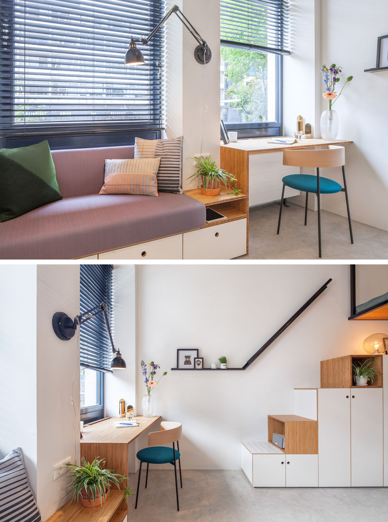 small-apartment-design-couch-desk-110518-1146-05 This Contemporary Small Renovation Apartment Has A Loft Bed Suspended From The Ceiling Interior